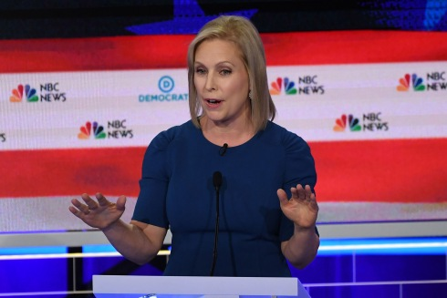 Democratic presidential hopeful US Senator for New York Kirsten Gillibrand speaks during the second Democratic primary debate of the 2020 presidential campaign season hosted by NBC News at the Adrienne Arsht Center for the Performing Arts in Miami, Florida, June 27, 2019. (Photo by SAUL LOEB / AFP) (Photo credit should read SAUL LOEB/AFP/Getty Images)